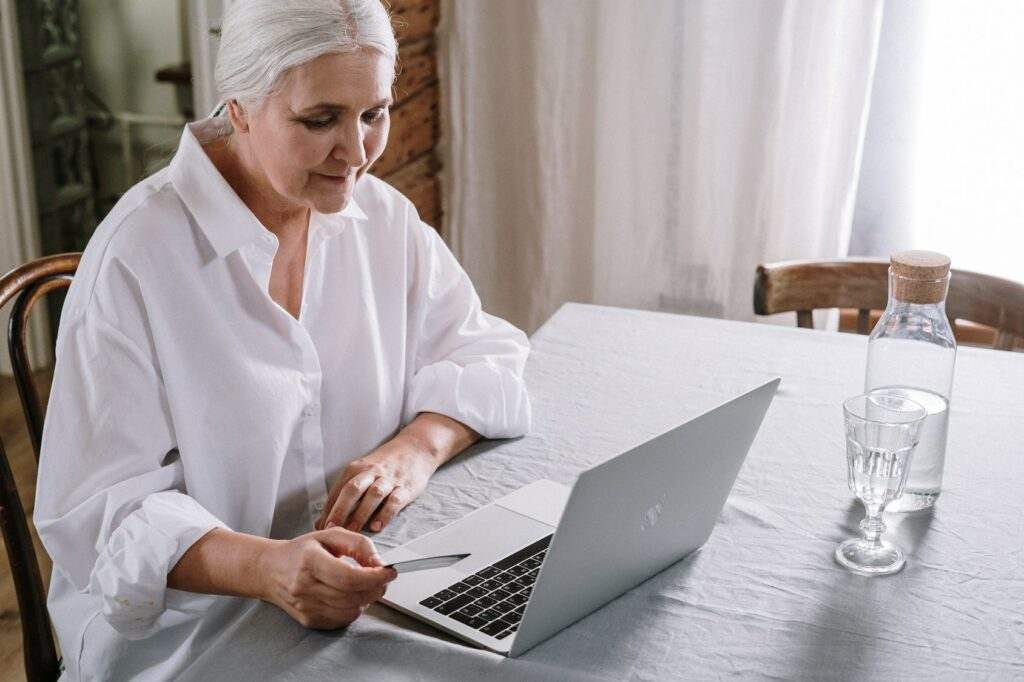 Woman doing online bank transfer