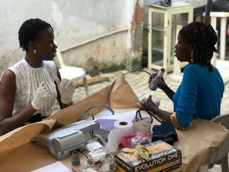 Lung testing event for street traders in Lagos, Nigeria